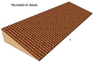 Ilustração de um telhado do tipo uma água ou 1 água