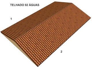 Ilustração de um telhado do tipo duas água ou 2 águas