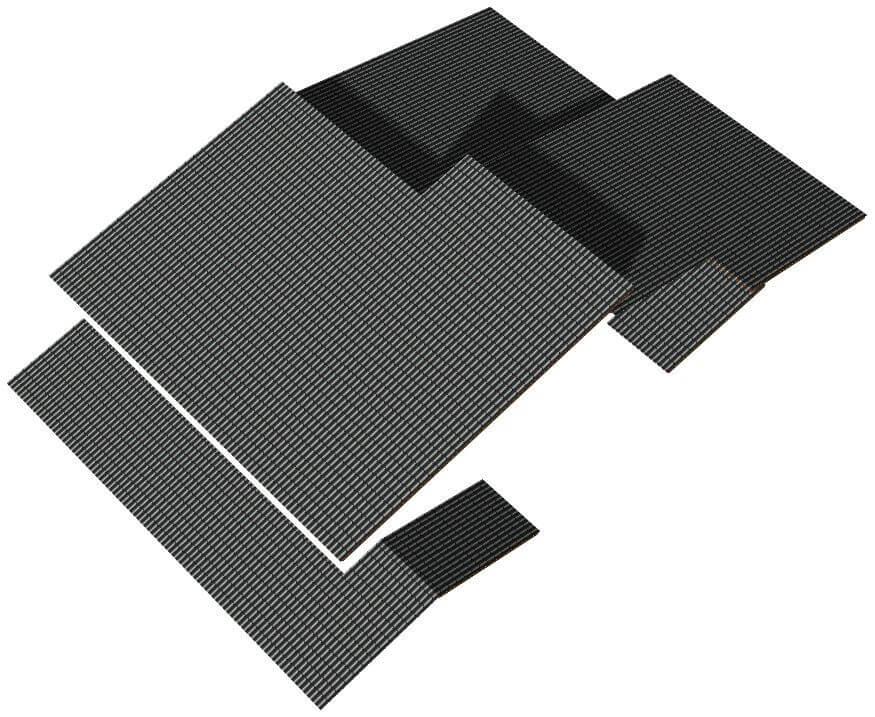 Ilustração de um telhado sobreposto com várias sobreposições