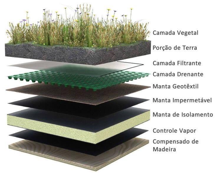 Ilustração esquemática das camadas de um Telhado Verde