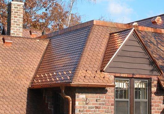 Ilustração de um telhado com Telhas Germânicas