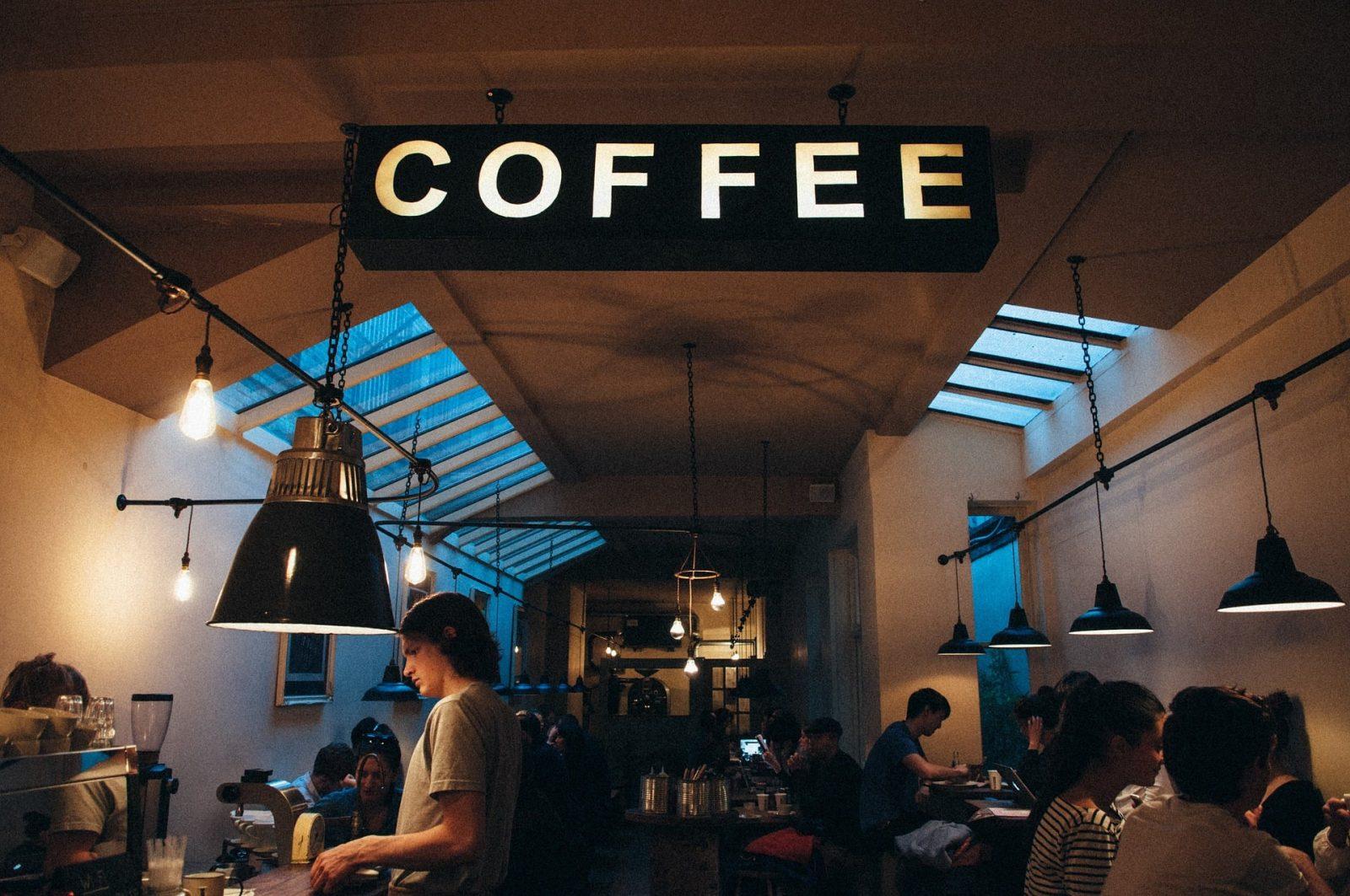 Placa de Iluminação escrito Coffe