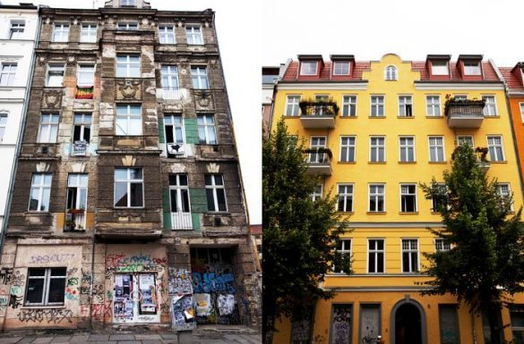 ilustrar um edificio antes e depois da gentrificação