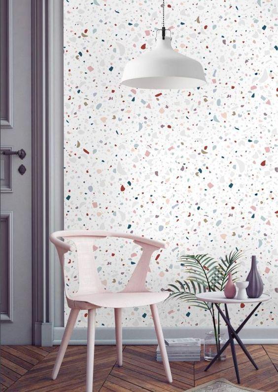 ilustrar uma parede dercorada com papel de parede de granlite