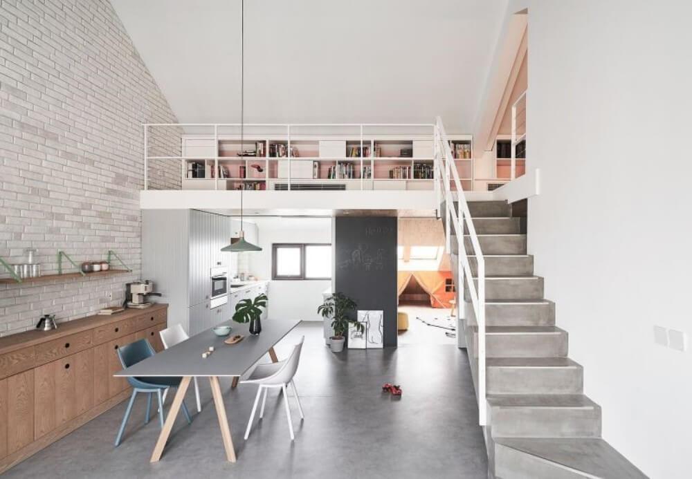 apartamento com mezanino de concreto