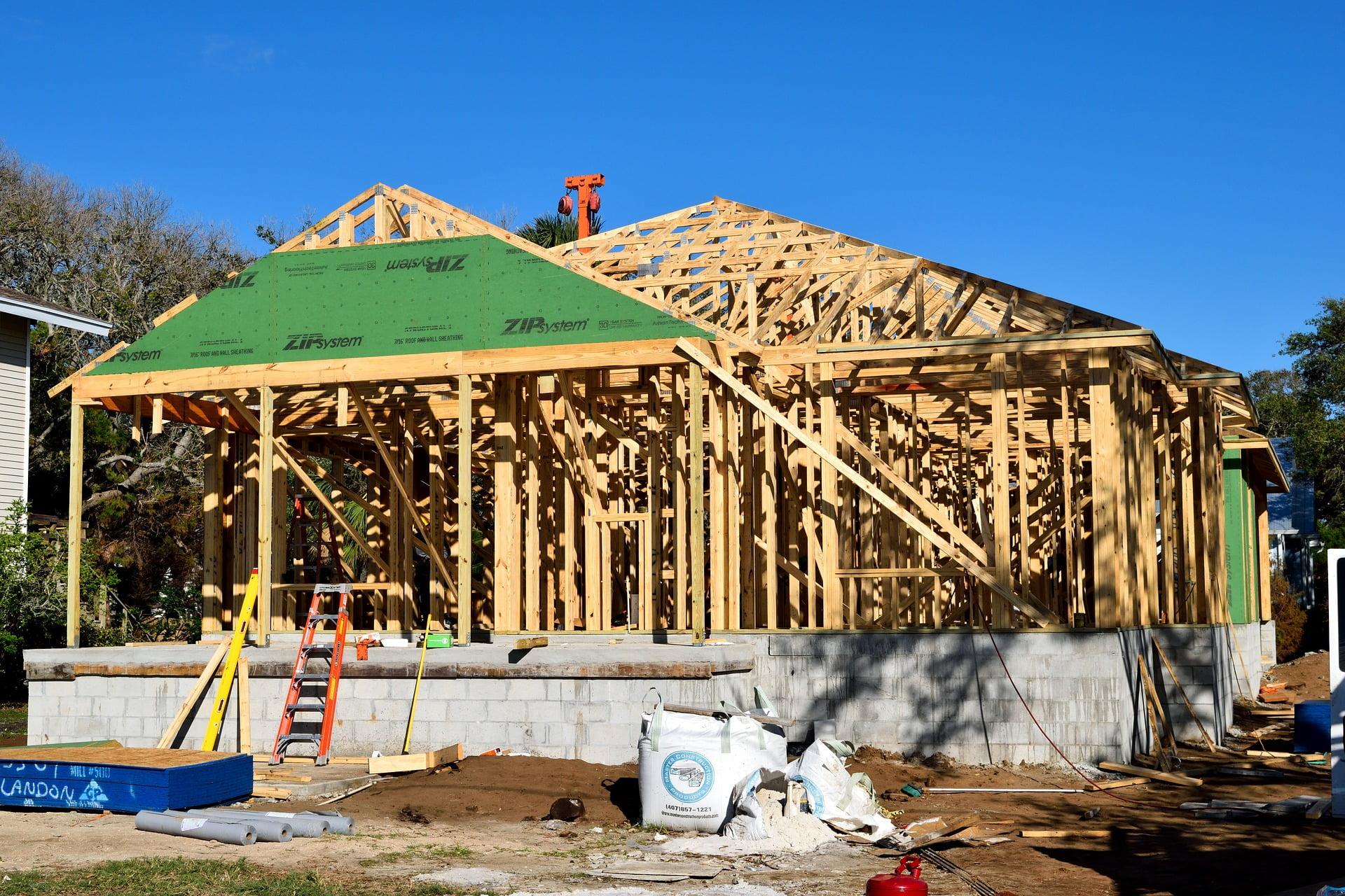 casa construida com wood frame