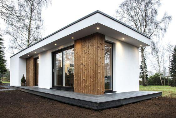 casas pré-fabricadas em concreto com janela lateral