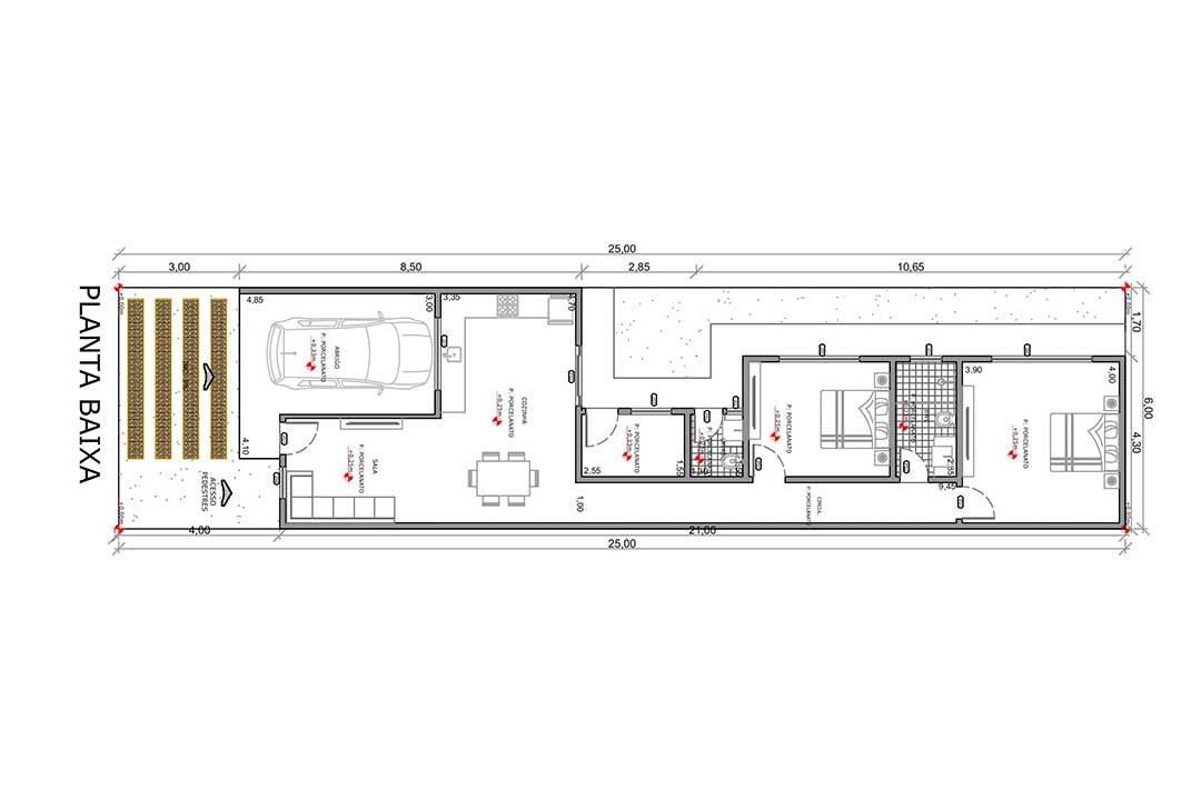 planta com 2 quartos projeto EA-115