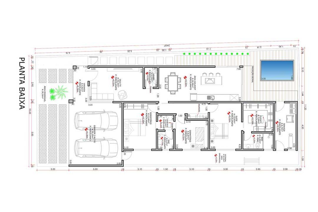 planta com 3 quartos projeto EA-118