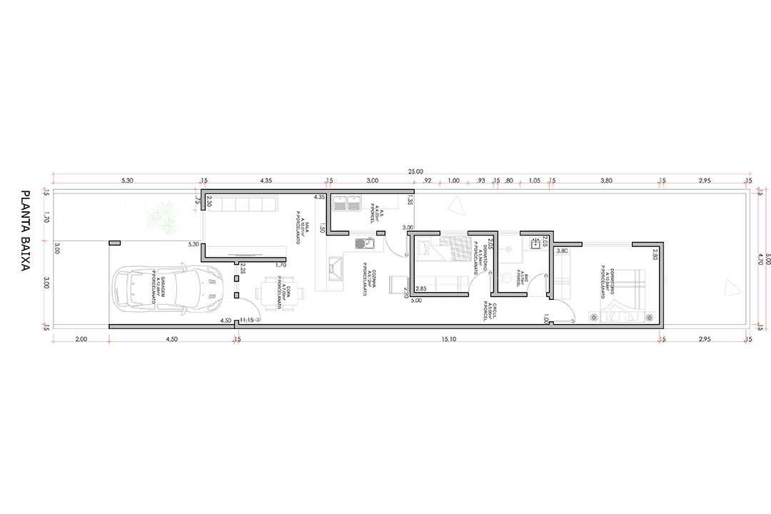 planta com 2 quartos projeto EA-125