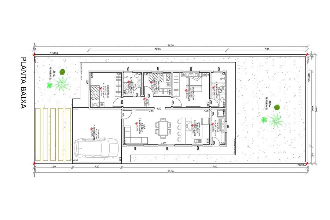 planta com 3 quartos projeto EA-132