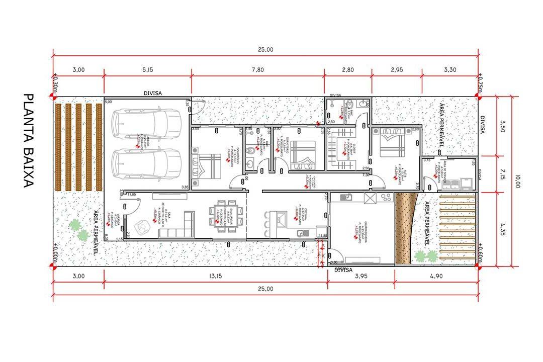 planta com 3 quartos projeto EA-145