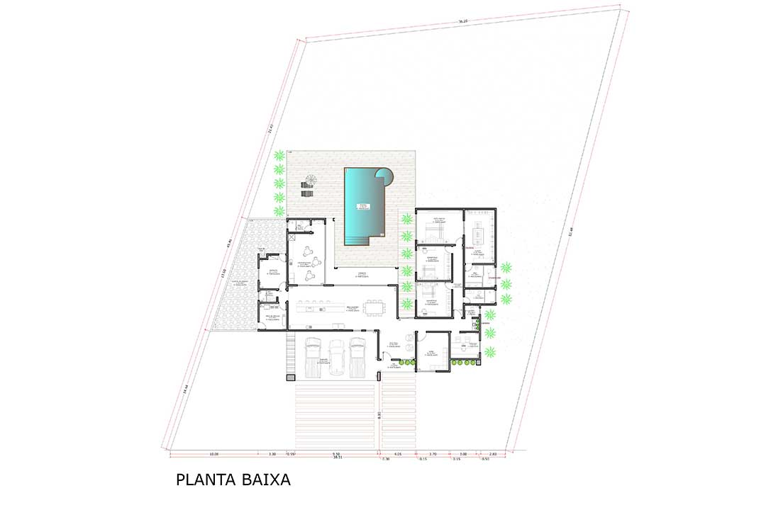 planta com 3 quartos projeto EA-120
