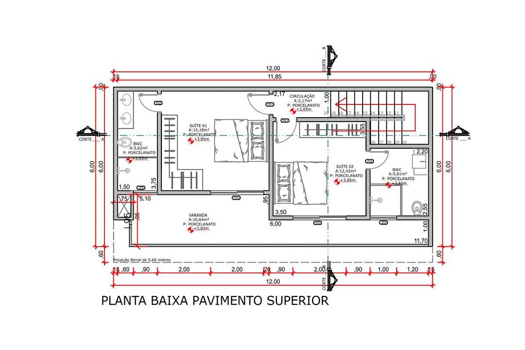 planta com 2 quartos projeto EA-140