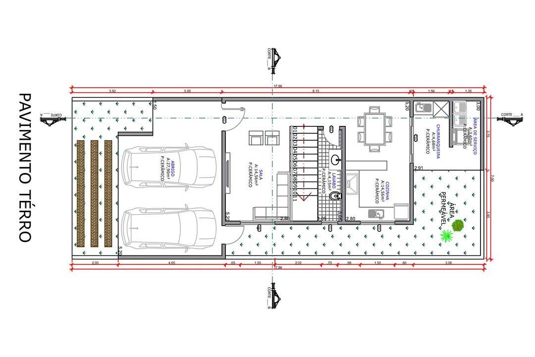 planta com 2 quartos projeto EA-113