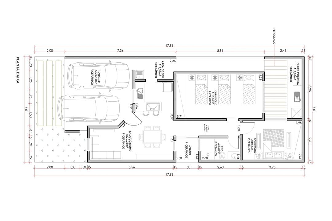 planta com 2 quartos projeto EA-110