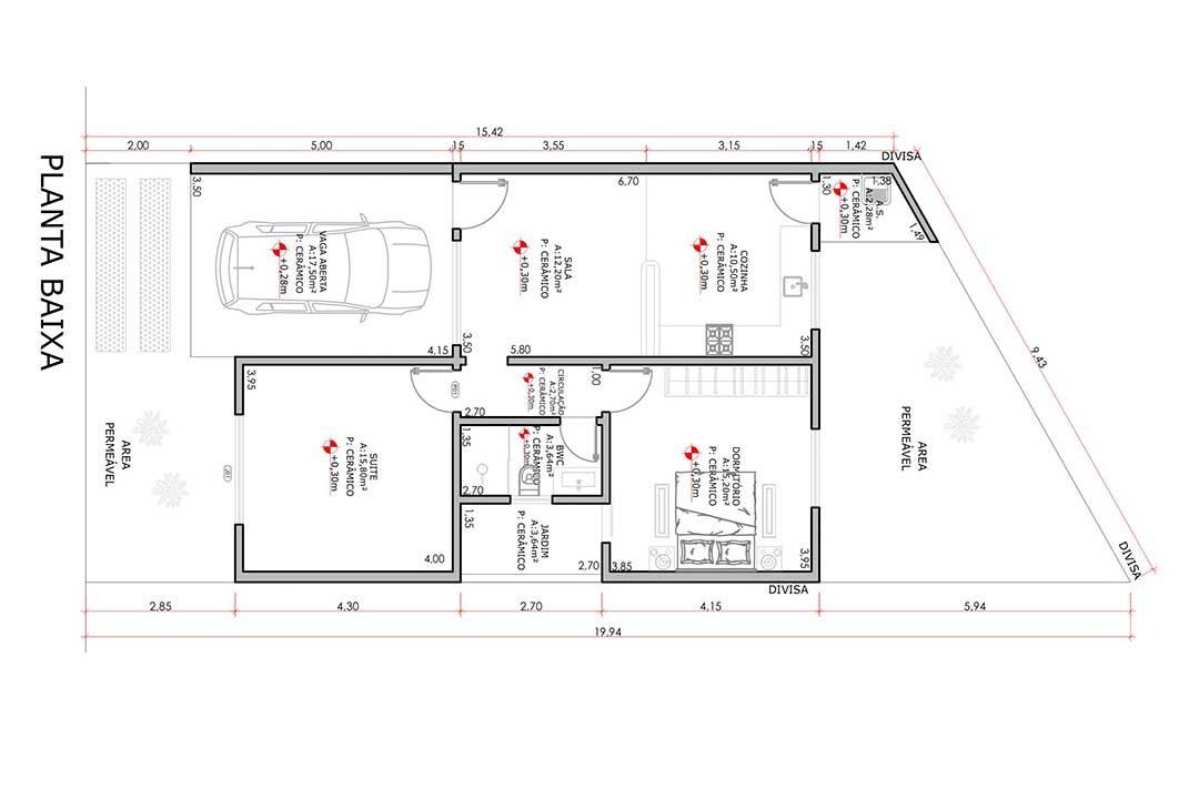 planta com 2 quartos projeto EA-122