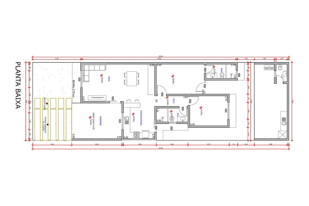 planta com 2 quartos projeto EA-129