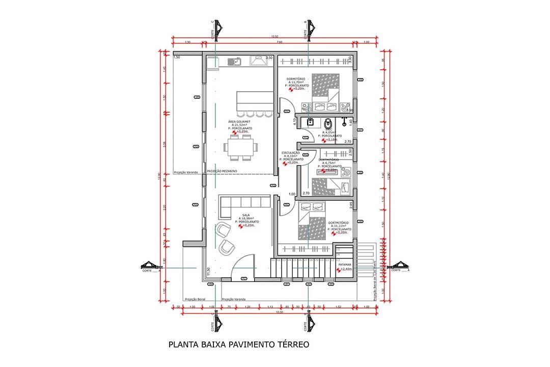 planta com 4 quartos projeto EA-143