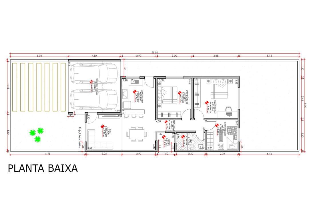 planta com 3 quartos projeto EA-153