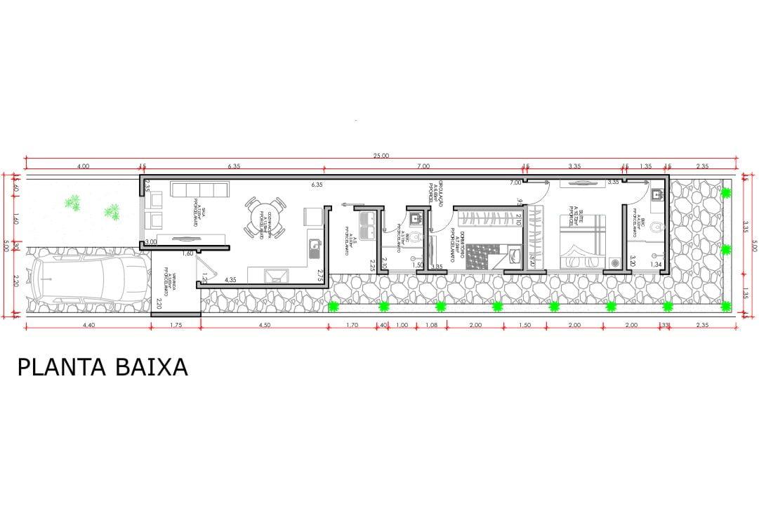 planta com 2 quartos projeto EA-157